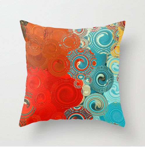 THROW PILLOW Red Blue Yellow Swirls colorful scatter