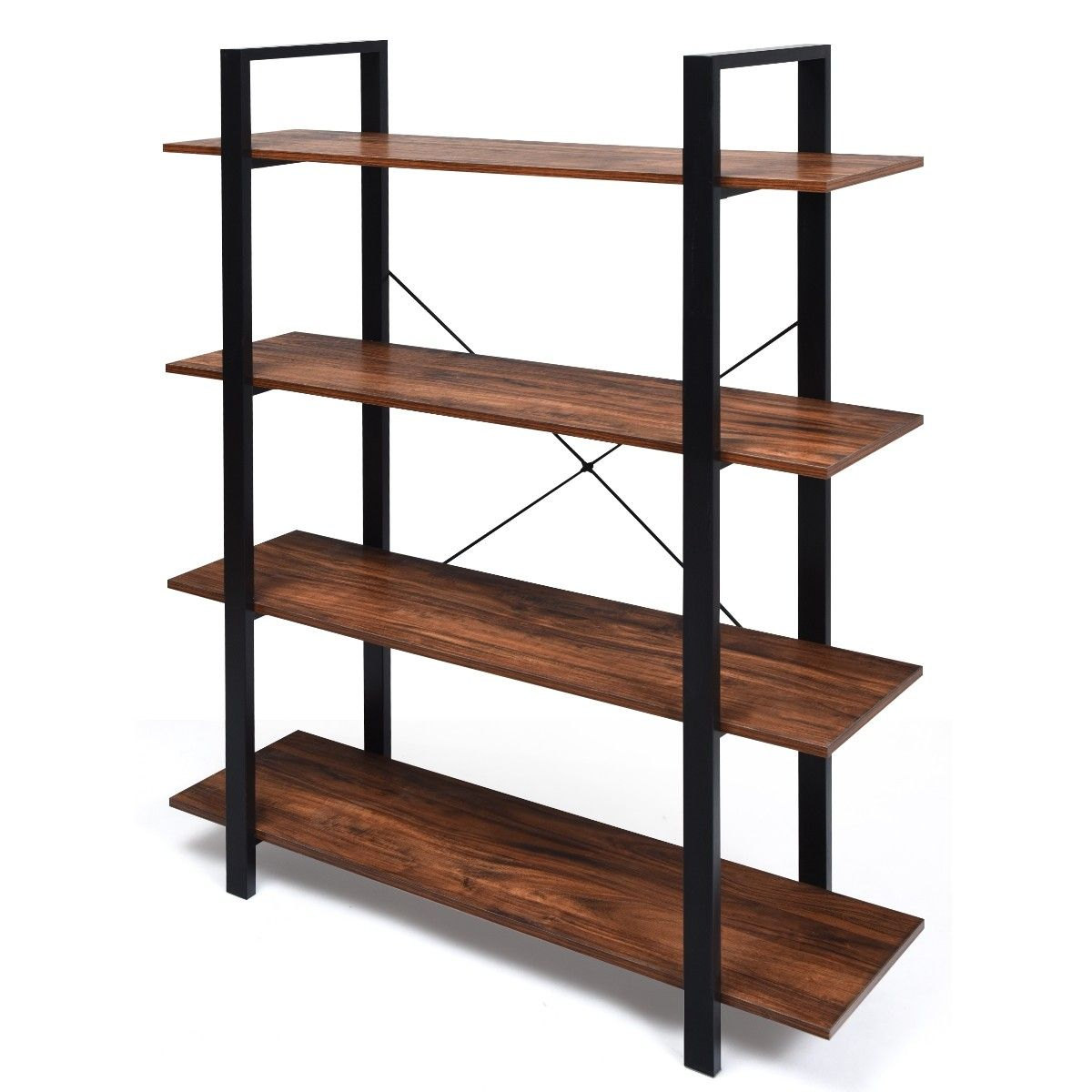 4 Tiers Bookshelf Industrial Bookcases Metal Frame Shelf Stand 109 95 Free Shipping It Is Made Of P2 Gr Metal Bookcase Wood Bookshelves Industrial Bookcases
