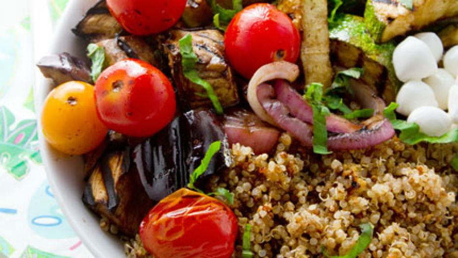 Balsamic Grilled Vegetables and Basil Quinoa Salad