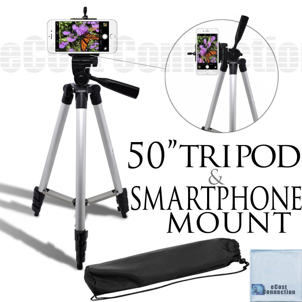 an eCostConnection Microfiber Cloth Acuvar 50 Inch Aluminum Camera Tripod with Universal Smartphone Mount for ALL Smartphones