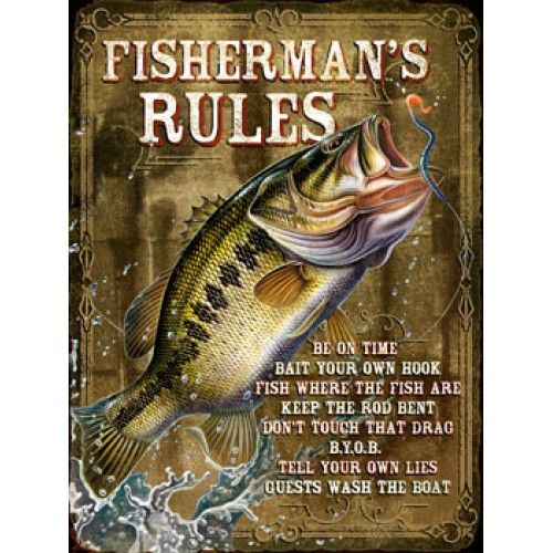 fishing sign fisherman rules fishing signs pinterest
