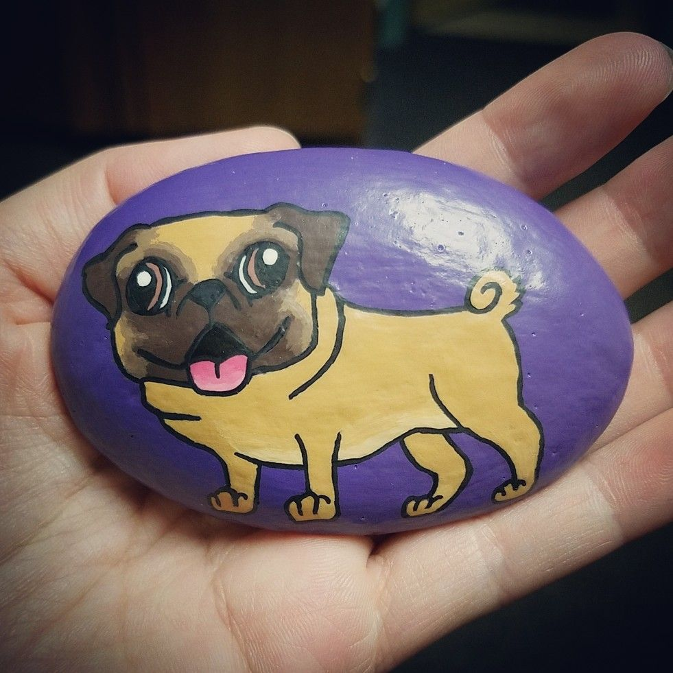 Painted Rock Rock Painting Rock Art Painted Stones Pug