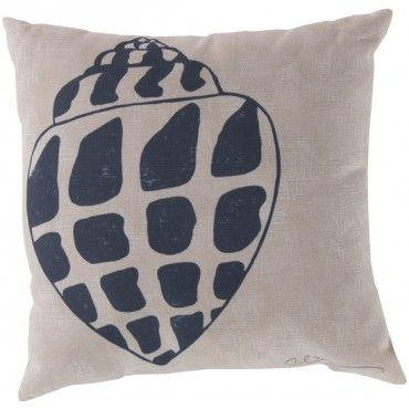 navy blue and white shell pillow