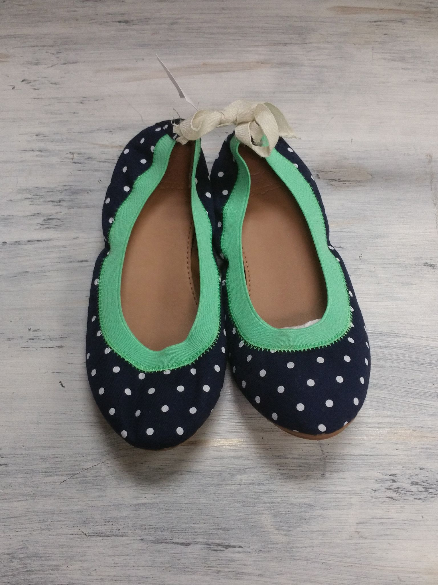 Crewcuts Navy Polka Dot Ballet Flats- Size Youth 2 (New With Tags)