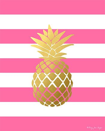Pineapple Print Gold And Pink By PennyJaneDesign