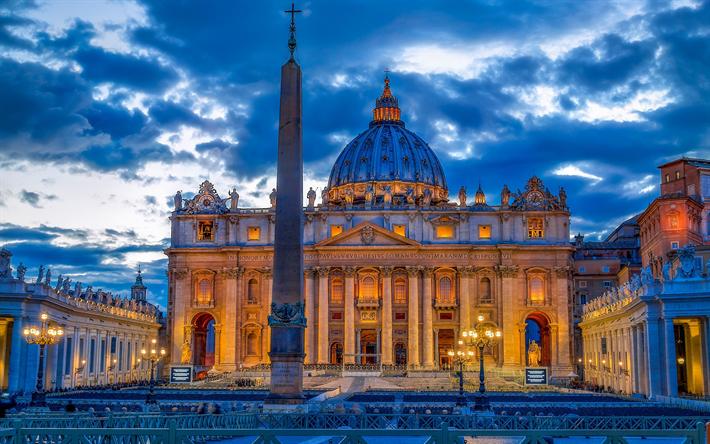 Scarica Sfondi Basilica Di San Pietro Il Vaticano La Sera Le Luci