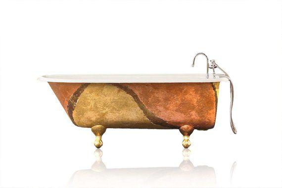 Artisan Gilded Antique Refinished 5 Clawfoot Bathtub Warm