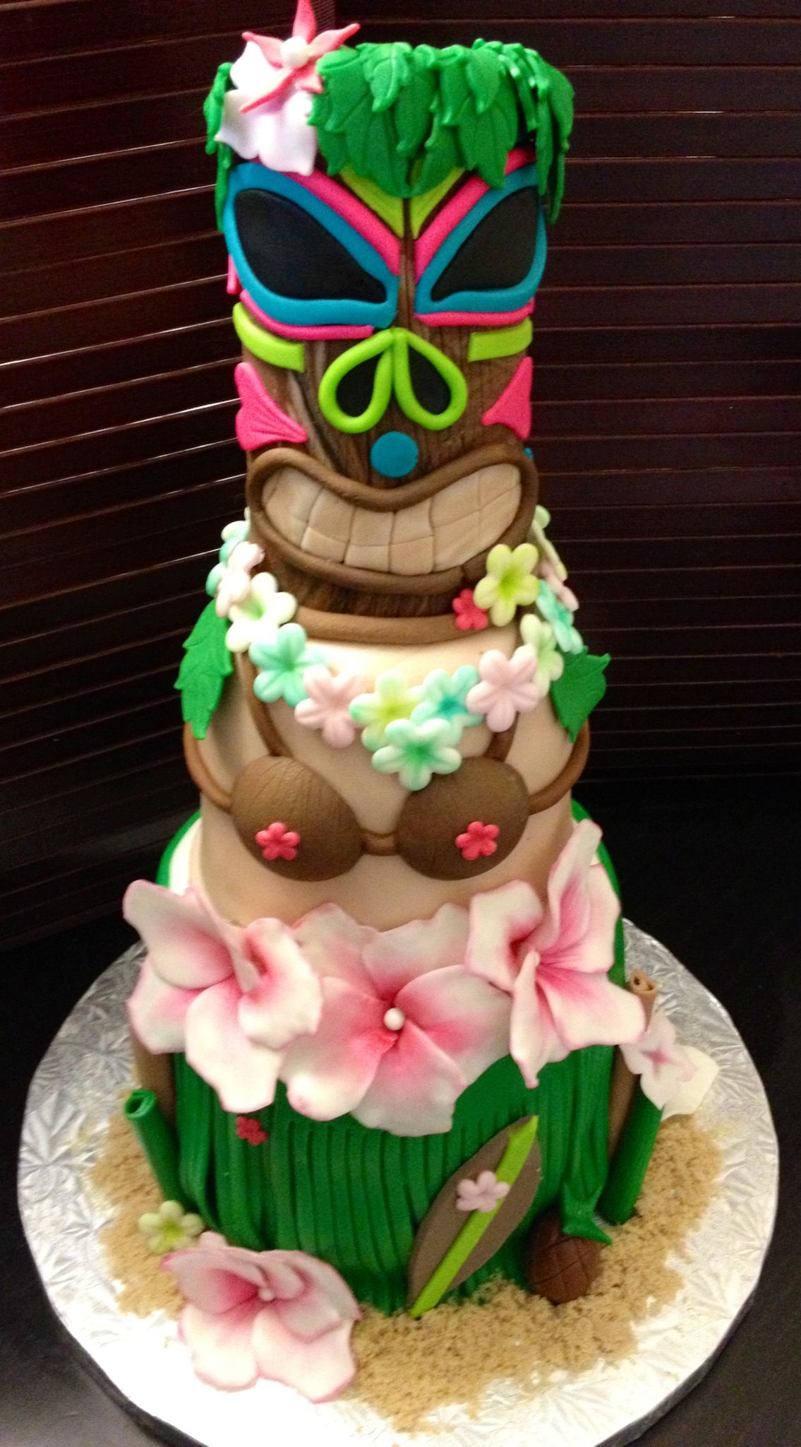 Astounding Tiki Cake For Your Summer Luau Tiki Cake Luau Cakes Themed Cakes Funny Birthday Cards Online Elaedamsfinfo