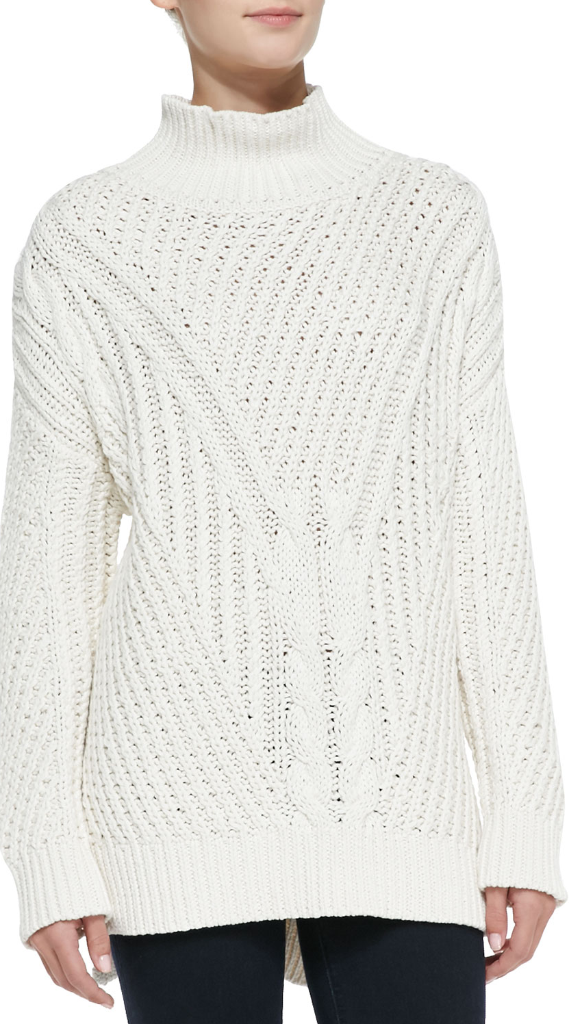 525 America Cable-Knit Mock Turtleneck High-Low Sweater, Cream ...