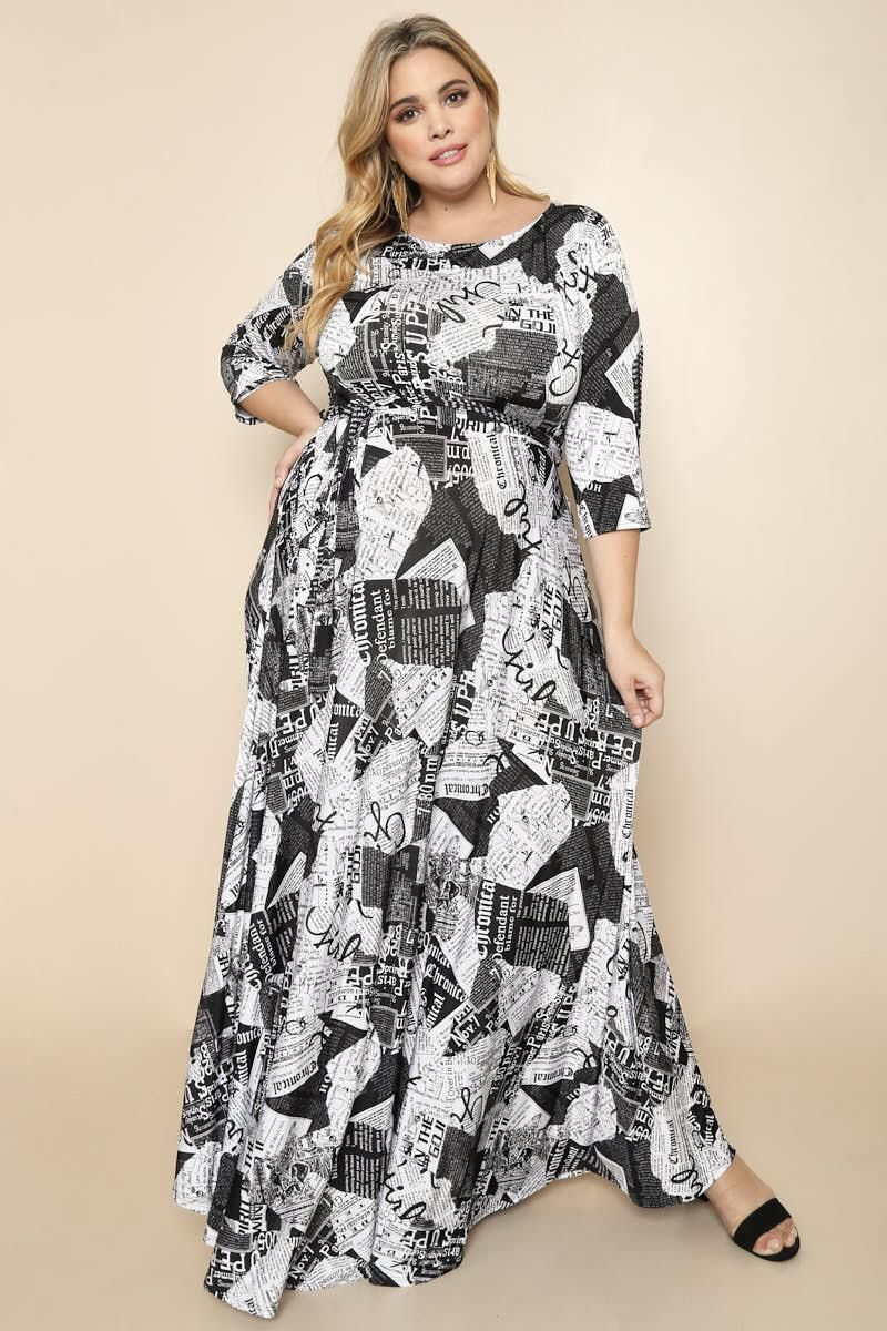 898a37072d Detail View 2   ABSTRACT NEWSPAPER PRINT PLUS SIZE MAXI DRESS