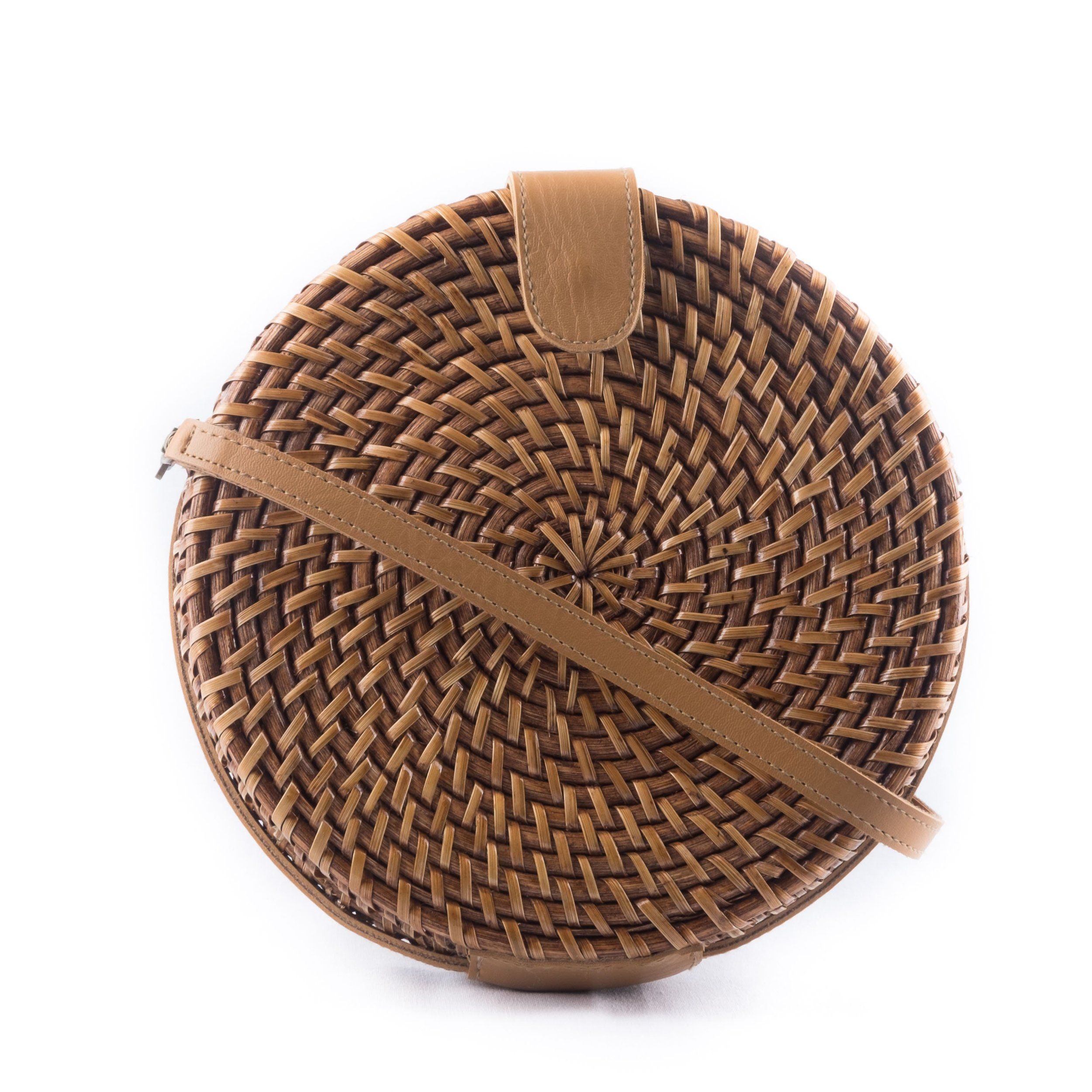 Round Rattan Crossbody Bag Made in the Philippines Handwoven