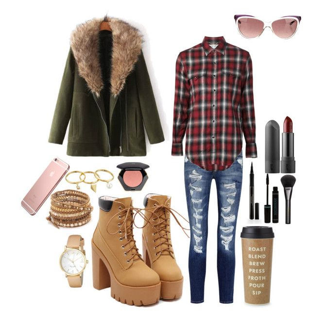 """""""Autumn look"""" by polinamanch ❤ liked on Polyvore featuring Current/Elliott, Yves Saint Laurent, JVL, Chan Luu, Rebecca Minkoff, Kate Spade, Elizabeth Arden, H&M and Gucci"""