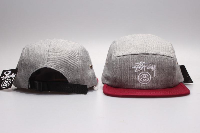 Men's / Women's Stussy Basic Stock Logo Signature Logo 5 Panel Strapback Hat - Grey / Red / White