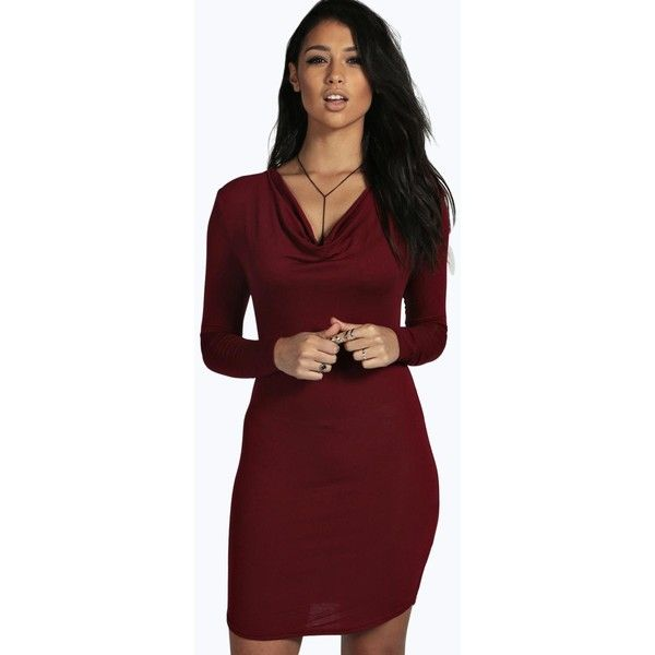 Boohoo Iris Cowl Neck Curved Hem Bodycon Dress ($20) ❤ liked on Polyvore featuring dresses, berry, bodycon dress, red body con dress, cocktail dresses, red holiday dresses and cowl neck dress