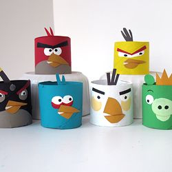 Once a boring paper towel roll - morphed into cute angry birds!