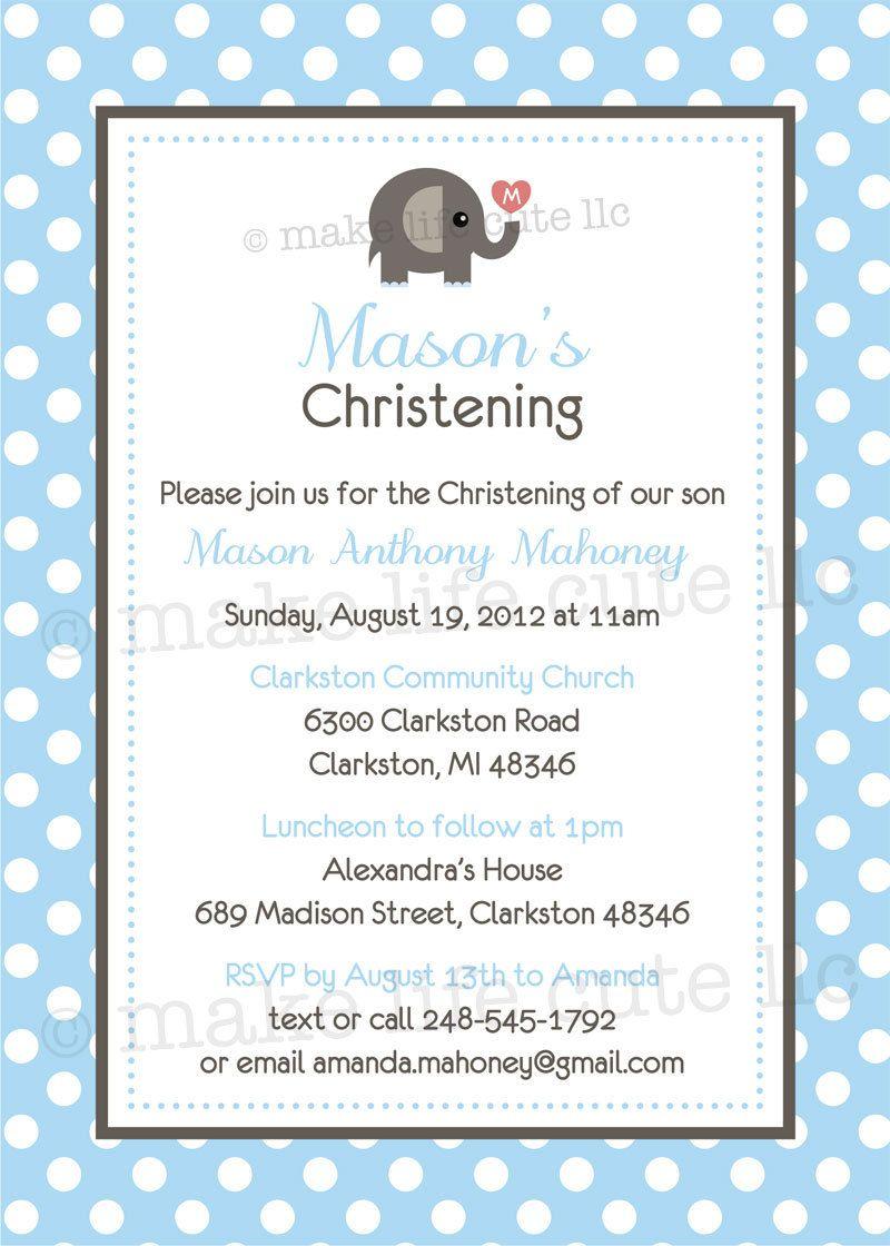 Elephant Printable 5 X7 Invitation Design Baptism Dedication