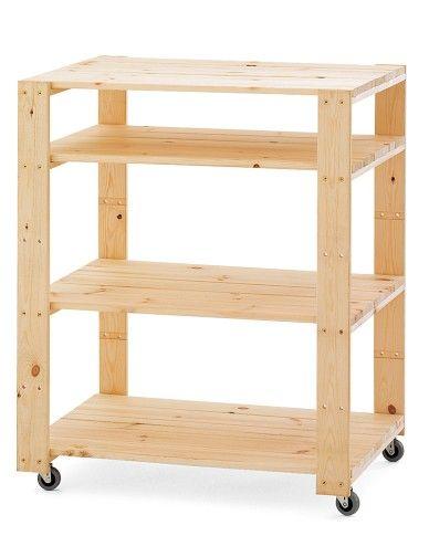 Swedish Wood Shelving Utility Cart With