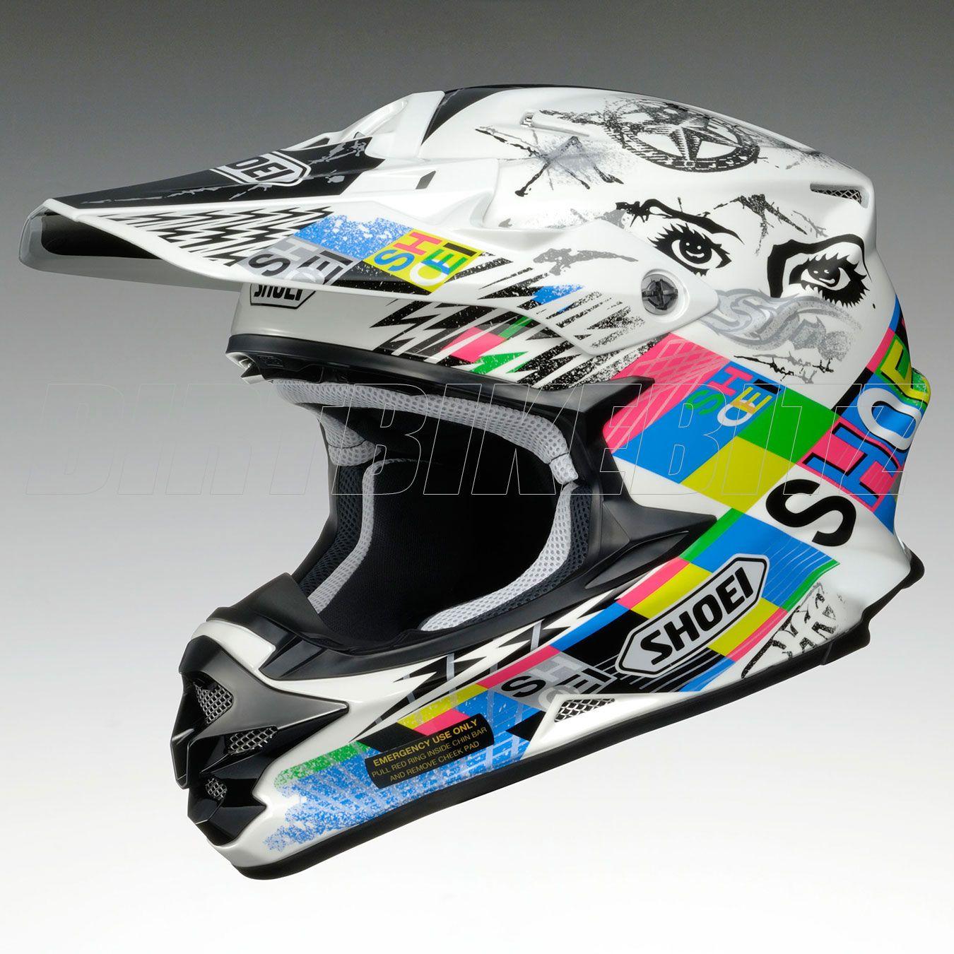 2013 Shoei Vfxw Motocross Helmet Krack Tc10 White Multi