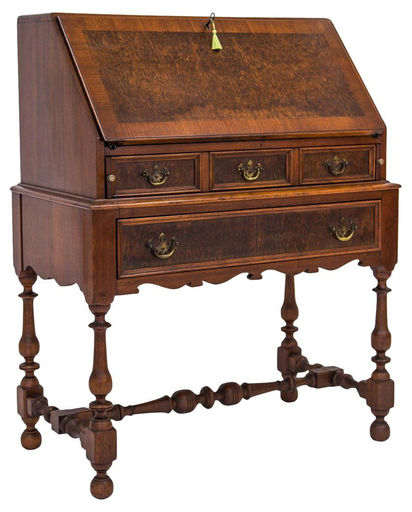 1920s Burled Slant Top Desk W Key Connecticut Manor Vintage Styles Vintage One Kings Lane Top Desk Key Secretary Desks Furniture Desk