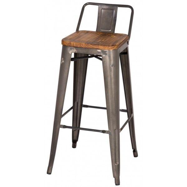 Low Back Barstool Wood Seat Bar Stools Industrial Bar Stools