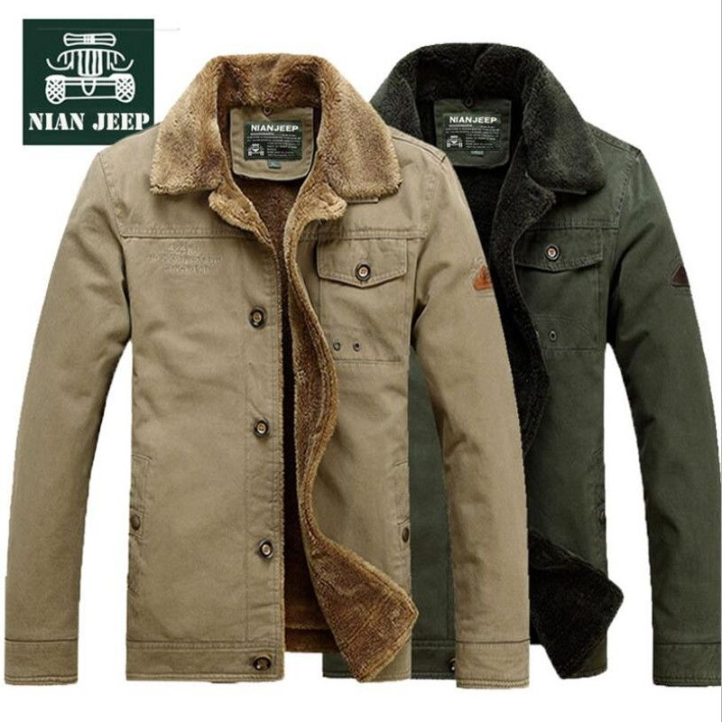 XTX Mens Classic Fit Wool Lined Winter Warm Overcoat Hooded Parkas Coats Jacket Army Green Large