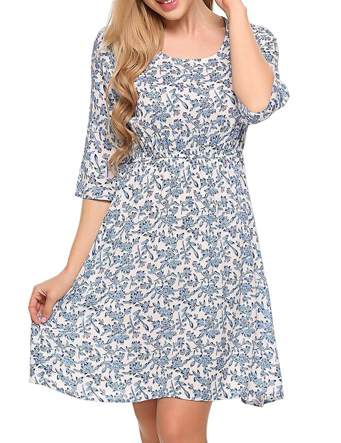 1aae35b8c Women's Print Tunic Top Dress- 3/4 Sleeve Summer Casual T Shirt Midi Dresses  - Light Blue - CV184HIN9XQ,Women's Clothing, Tops & Tees, Tunics #women ...