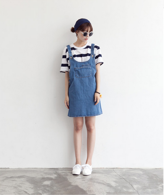 striped tshirt and jean dress