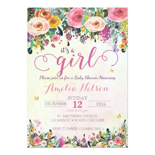 Itu0027s A Girl Floral Garden Baby Shower Invitation Garden baby - baby shower invitation