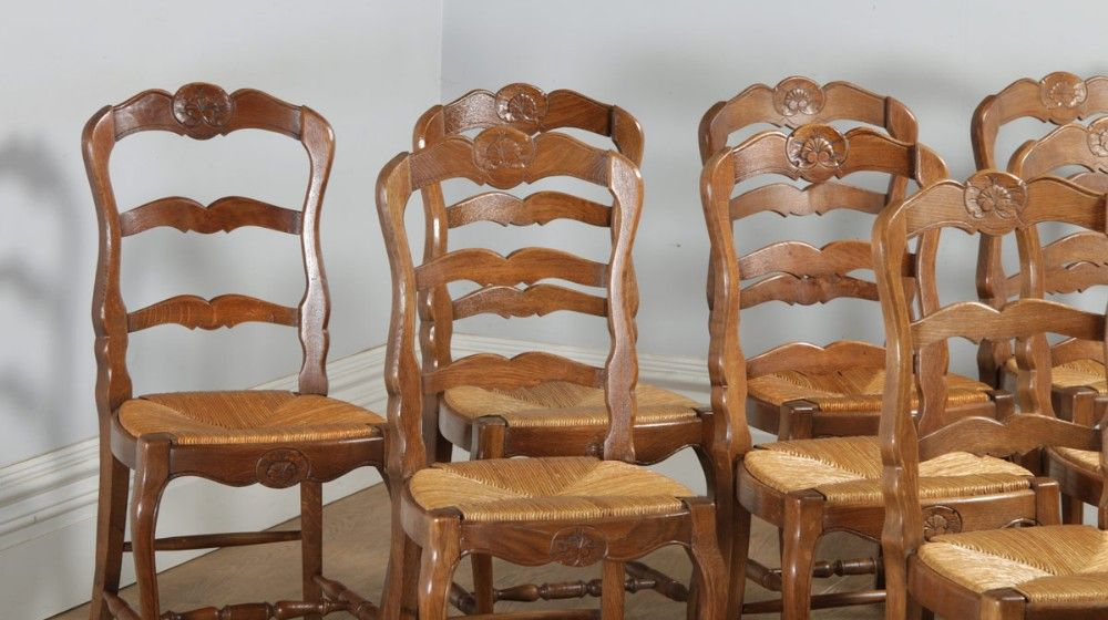 Antique Set Of 8 Eight French Louis Xv Style Oak Ladder Back