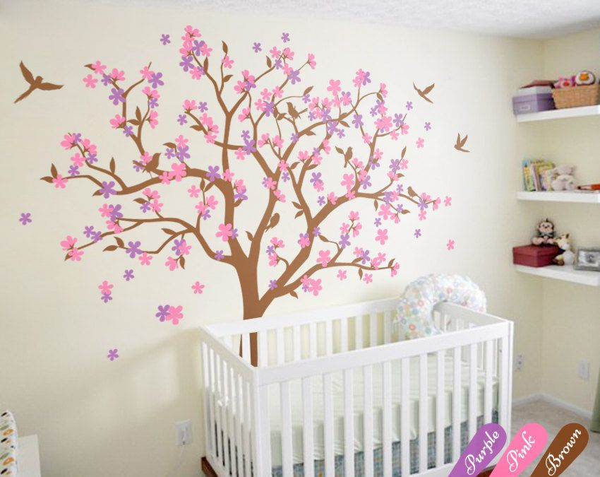 Huge Tree Wall Decal Cherry Blossom Wall Art Sticker Colorful Floral Wall  Decor Mural With Birds