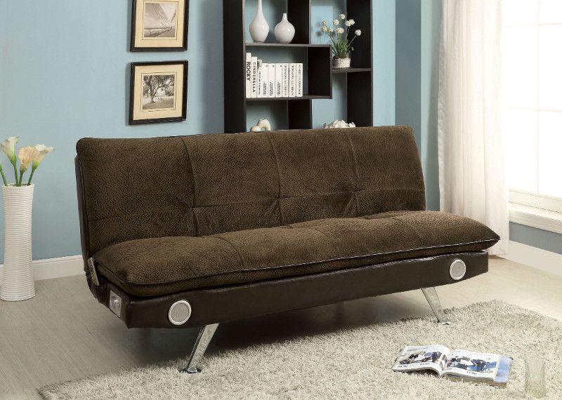 Cm2675br Gallagher Brown Champion Fabric Futon Sofa Bed Futon