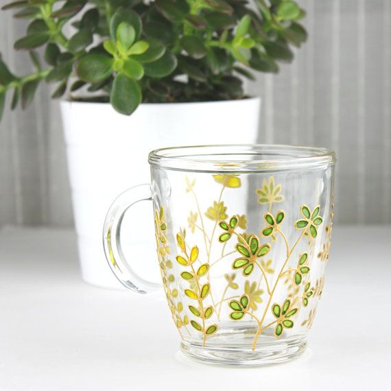 Green Foliage Mug, Hand Painted Glass Mug, Coffee Mug, Tea Mug, Glass Mug with Leaves, Botanical Mug, Glass Botanical Foliage Mug #teamugs