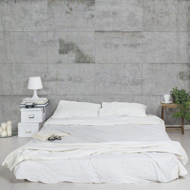 Tapete #Betonoptik Vliestapete - Große Betonplatten - Fototapete - tapete modern