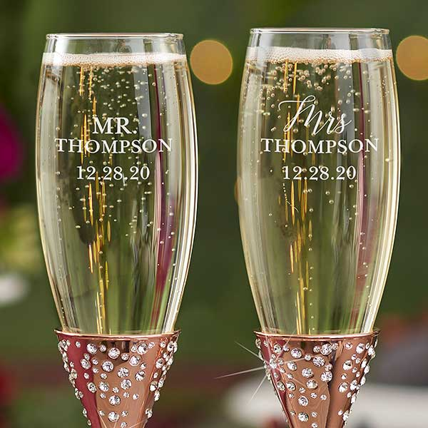 Radiant Rose Gold Etched Wedding Champagne Flute Set Wedding Champagne Flutes Gold Champagne Flutes Personalized Champagne Flutes