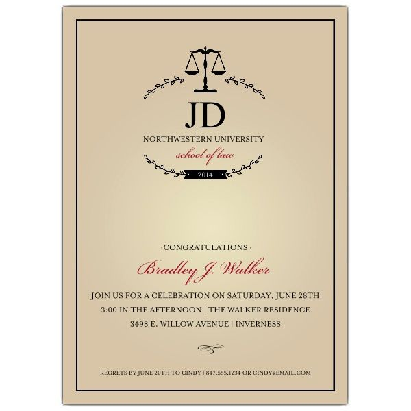 Monogram Law School Graduation Invitations by Elizabeth Victoria - invitation designs