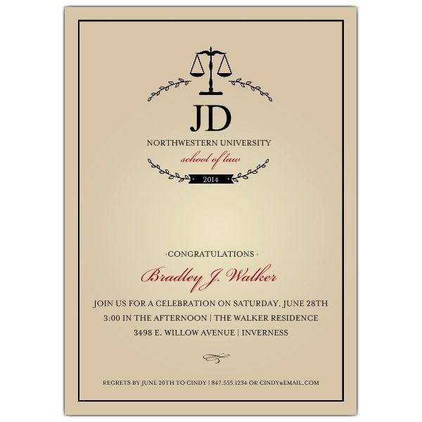 Monogram Law School Graduation Invitations by Elizabeth Victoria - fresh formal invitation to judges