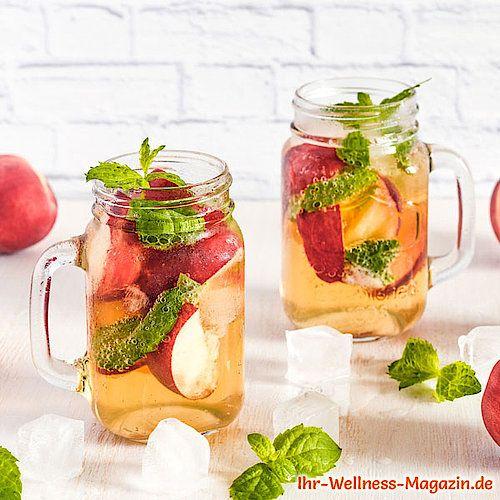 Pfirsich-Limonade mit Minze selber machen - Low Carb & ohne Zucker #lemonade