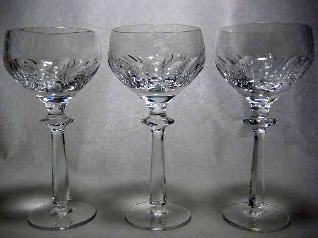 3 @ $24.99 Each Cut Crystal Wine Glasses Glassware High End Modern  Contemporary