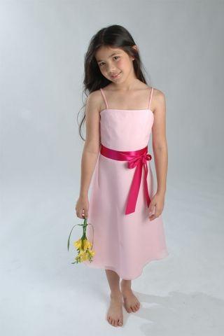 Pink Thin Straps Chiffon Dress for Little Girls in Sash | Wedding ...