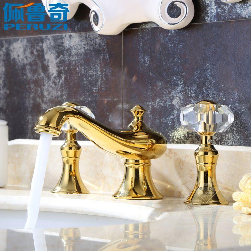 Peruzzi bathroom crystal gold three basin faucet hot and cold 8 ...