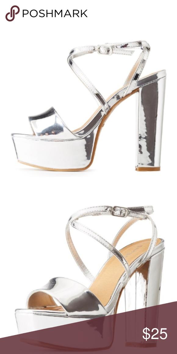 6062010d9c9 NIB Bamboo Silver Metallic Platform Sandals Heels Bamboo Silver Metallic  Platform Sandals Disco 70 s Inspired Heels