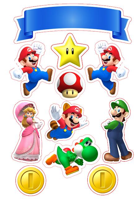 Mario Bros Party Free Printable Cake Toppers In 2020 Super Mario Bros Party Mario Bros Party Super Mario Bros Birthday Party