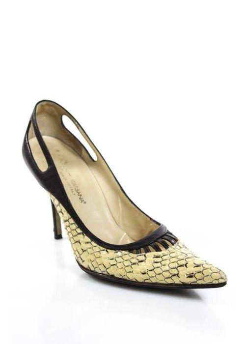 Dolce & Gabbana Woman Embellished Sequined Leather Pumps Gold Size 38 Dolce & Gabbana qGA05hKk