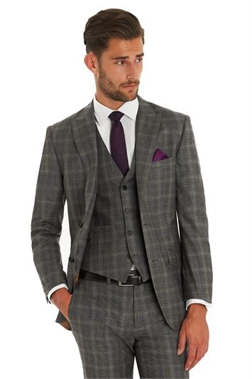 3e82e78018f3 Moss 1851 Tailored Fit Italian Cloth Grey With Yellow Check 3 Piece Suit
