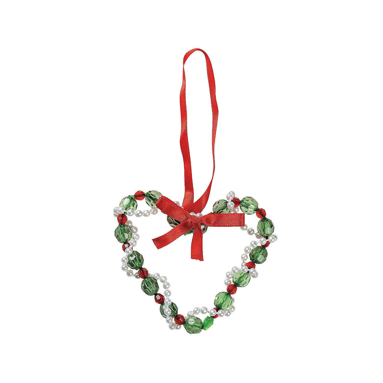 Christmas ornament craft kit - Beaded Heart Christmas Ornament Craft Kit Orientaltrading Com