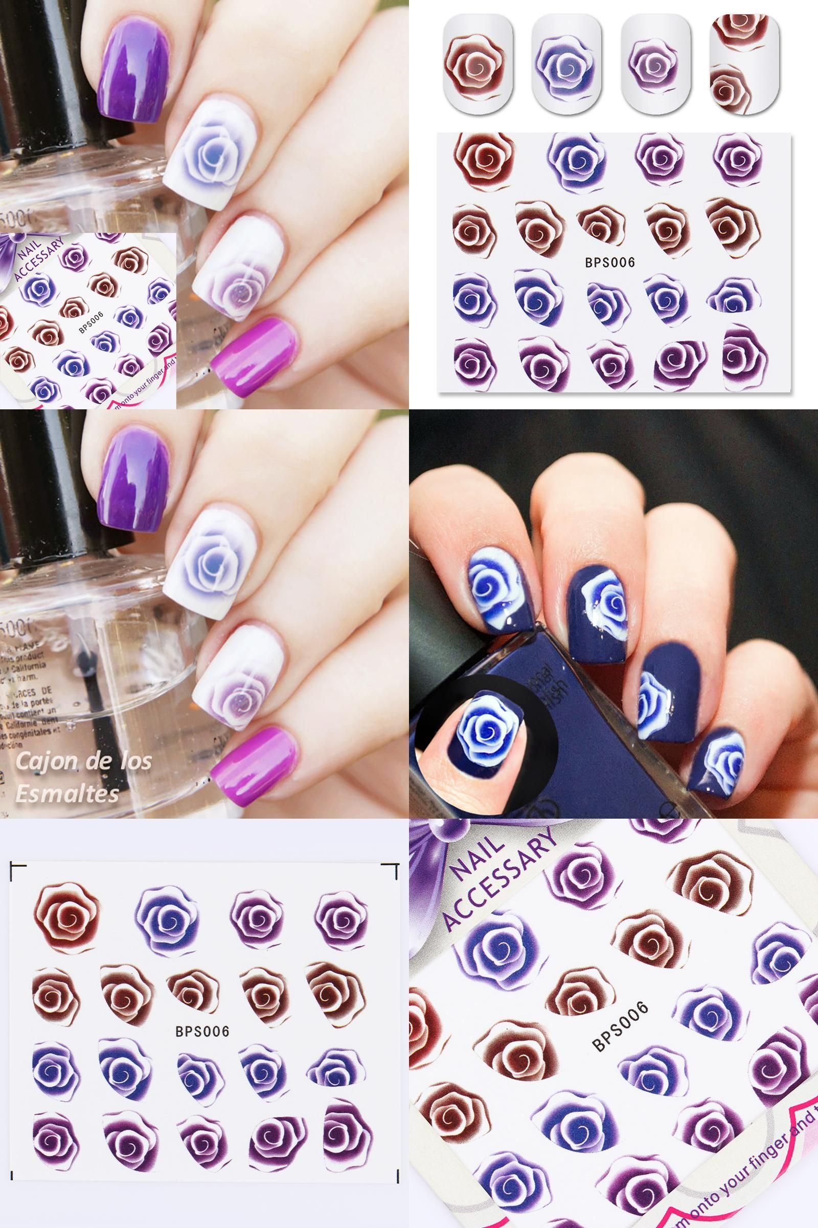 Visit to Buy] Rose Image Nail Water Decals Sticker Transfer Stickers ...
