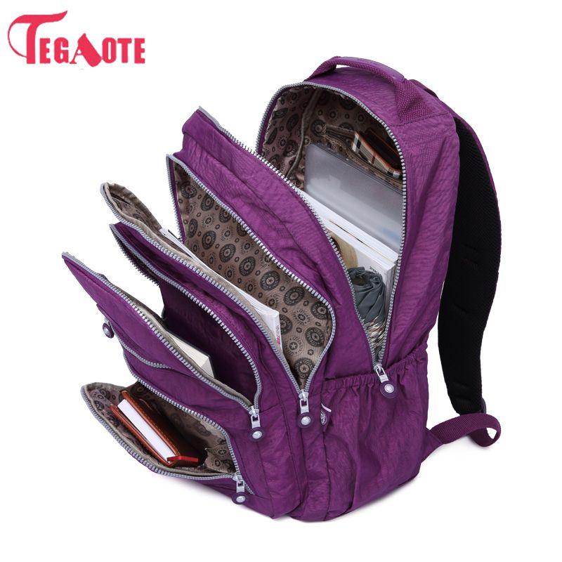 7b6296e3e Barato TEGAOTE Mochila Escolar para Adolescentes Menina Mulheres Mochila  Feminina Mochilas de Nylon Impermeável bolsa Para