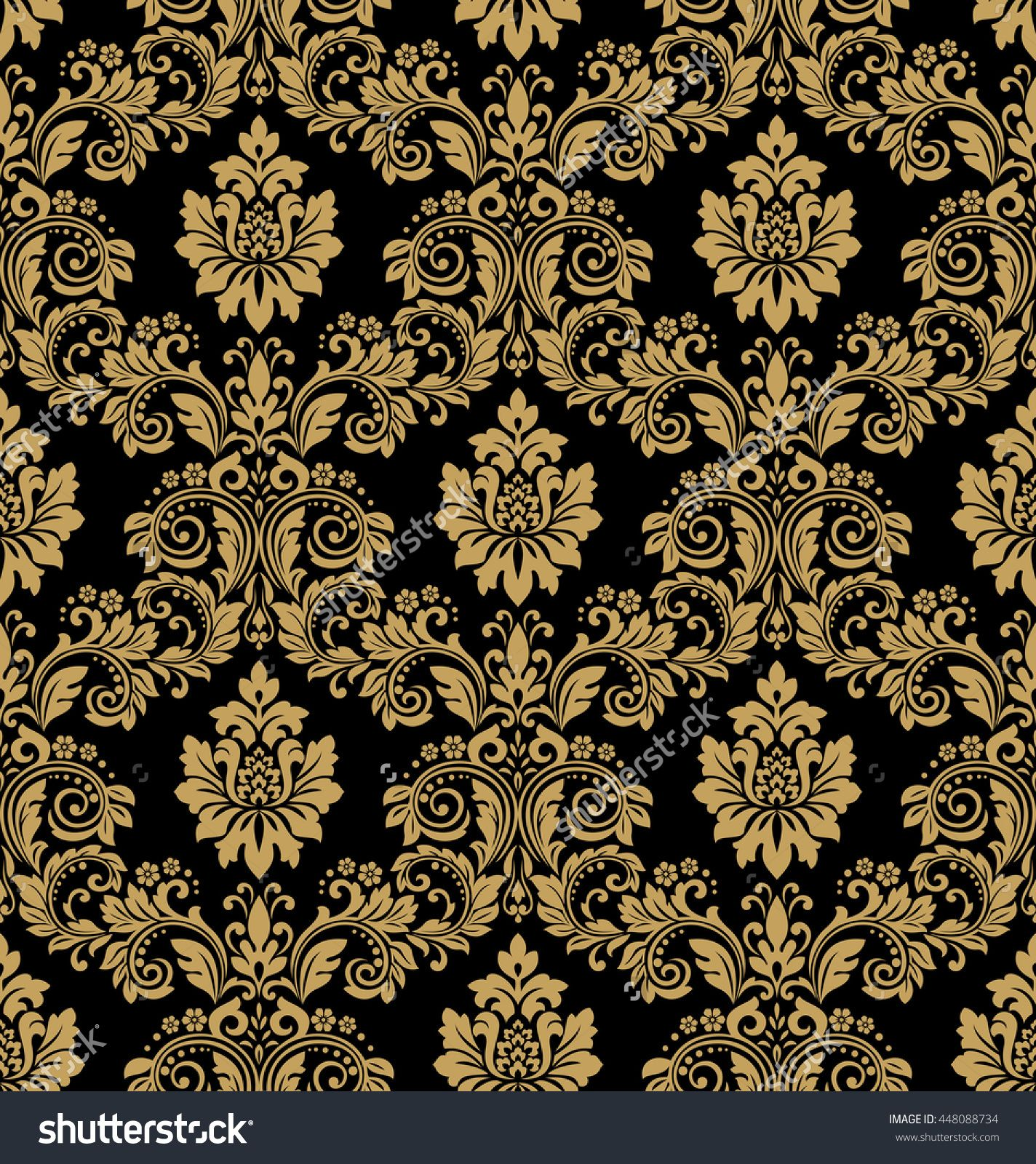 Floral pattern wallpaper baroque damask seamless vector for Baroque style wallpaper