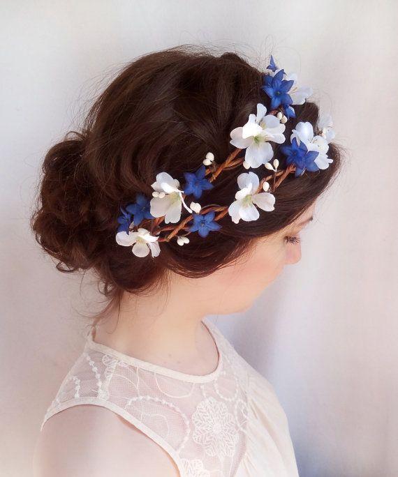 Royal Blue Flower Crown, White Floral Hair Wreath, Boho