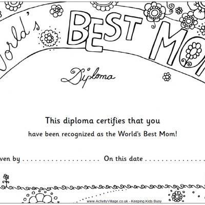 Worlds Best Mom Diploma Mothers Day Coloring Pages Mothers Day